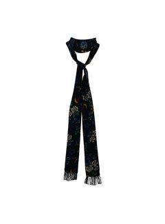 Black Colour Slim Tie - retro flower scarf