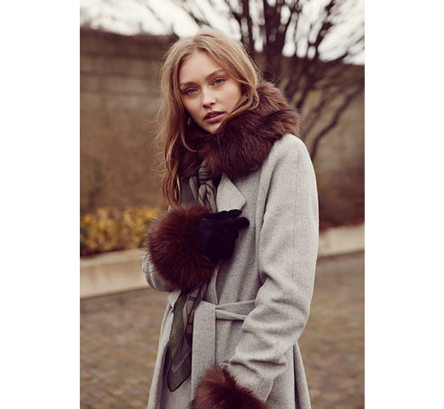 Faux fur collar for scarf-Brown