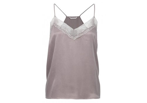 YAYA V-NECK CUPRO TOP WITH LACE DETAILS AND ADJUSTABLE STRAPS