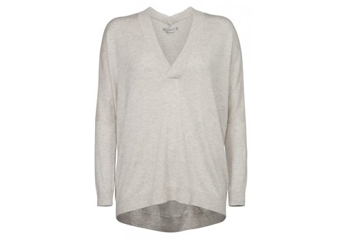 YAYA CASHMERE SWEATER WITH DOUBLE V-NECK AND RIB DETAIL ON SLEEVE