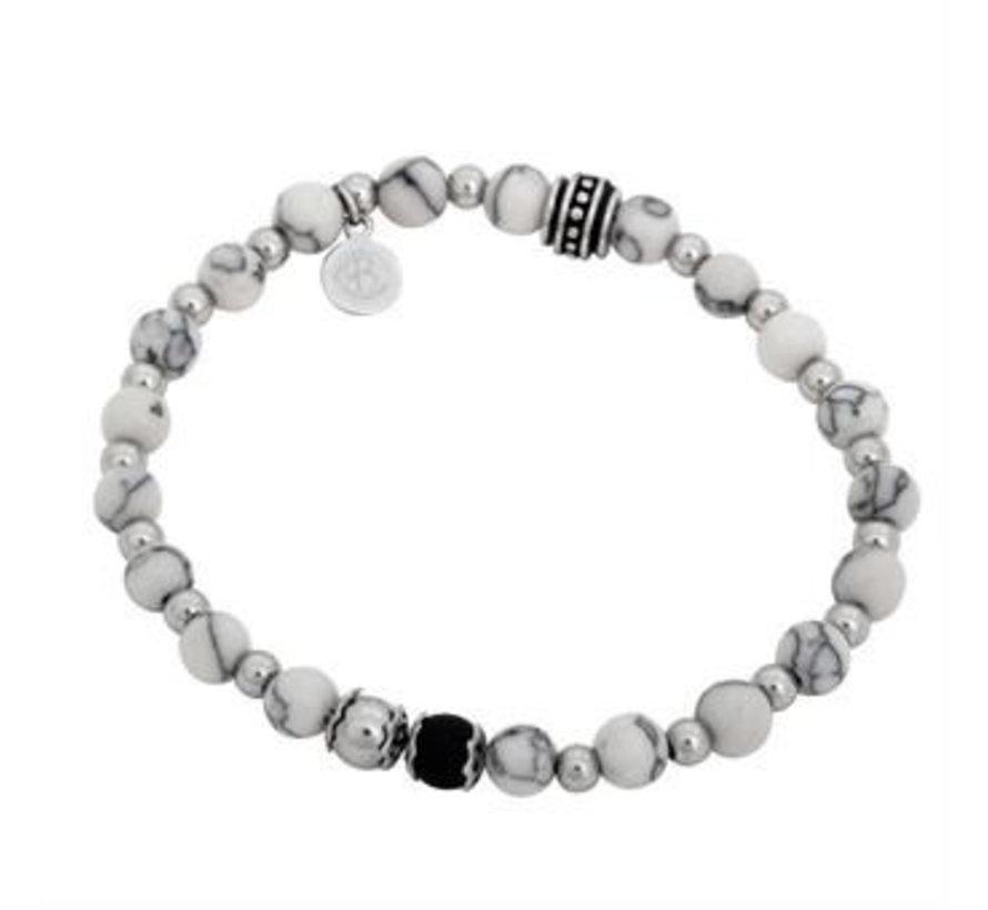 Bracelet  White Black Silver