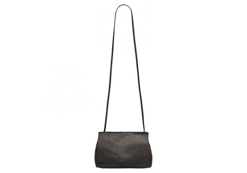 YAYA SMALL LEATHER SHOULDER BAG BLACK