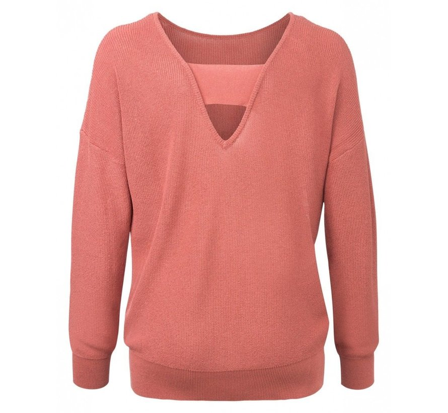 SWEATER WITH V-NECK BACK AND STRAP