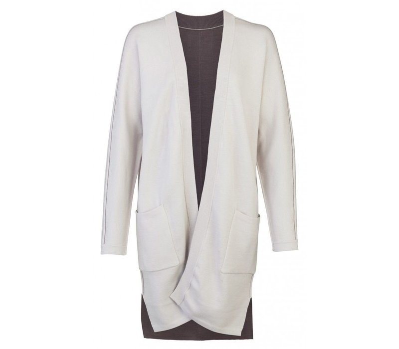 REVERSIBLE CARDIGAN WITH BIG POCKETS AND CONTRAST SEAMS