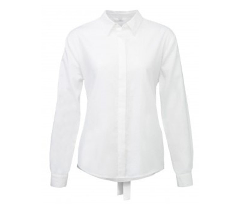 BLOUSE WITH SRAP AND OVERLAY BACK DETAIL