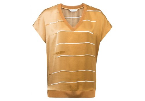 YAYA BLURRED STRIPE PRINT TOP WITH KNITTED V-NECK AND WAISTBAND