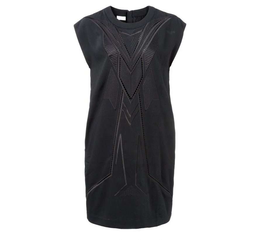 DRESS WITH EMBROIDERY AND ZIPPER IN NECK