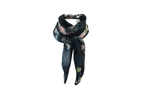 Black Colour CABANA silky big scarf-black