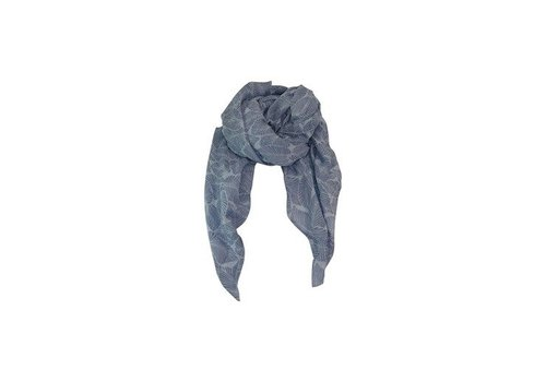 Black Colour LEAF scarf-lt. Blue