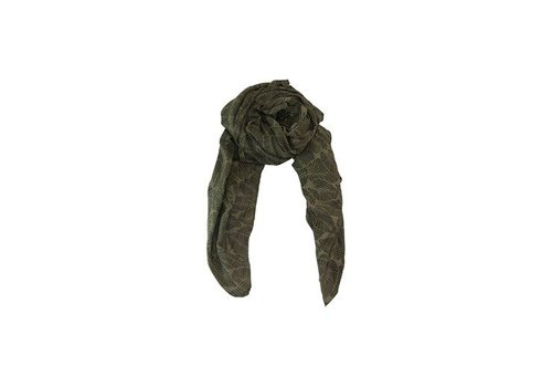 Black Colour LEAF scarf-olive