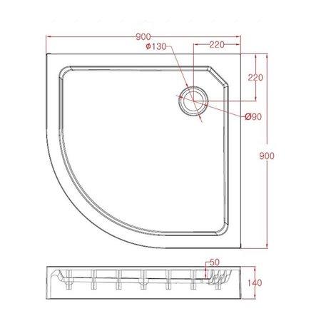 "Best Design BD ""Project "" Opbouwdouchebak 1/4-Rond 90x90x14 cm R=550"