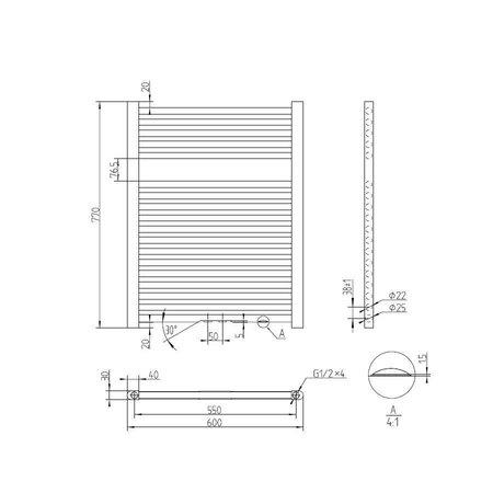 "Best Design Radiator ""Antraciet Zero"" 770x600mm"