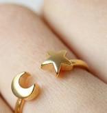 Moon star moon star boho bohemian style adjustable ring