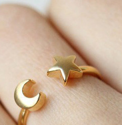 Lovelymusthaves Moon star moon star boho bohemian style adjustable ring