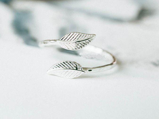 Lovelymusthaves Leaf bol blad plant trendy ring