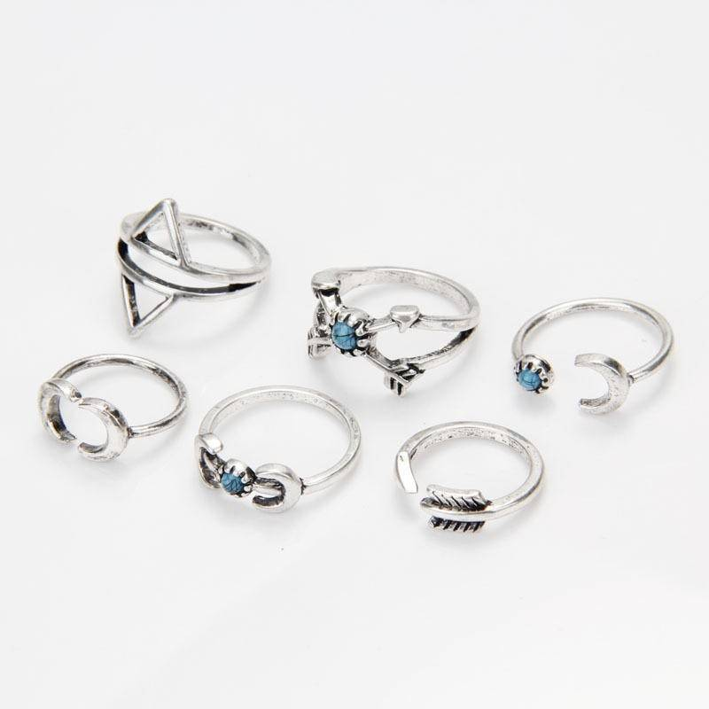 Joboly Hip boho bohemian style ring set moon moon arrow silver