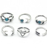 Lovelymusthaves Hip boho bohemian style ring set moon moon arrow silver