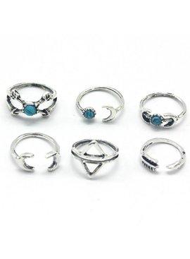 Hip moon arrow boho bohemian style ring set
