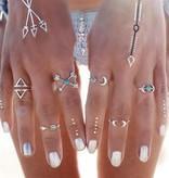 Hip boho bohemian style ring set moon moon arrow silver