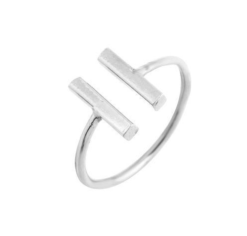 Lovelymusthaves Dubbele bar minimalistische ring verstelbaar zilver/goud/rose