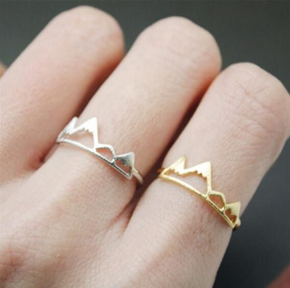 Lovelymusthaves Mountain trendy adjustable ring silver/gold/rosé