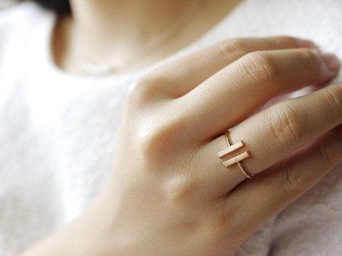 Lovelymusthaves Dubbele bar minimalistische ring verstelbaar