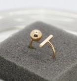 Lovelymusthaves Bar minimalistische ring verstelbaar zilver/goud/rose