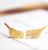 Lovelymusthaves Trendy vogel bird dier musthave oorknopjes zilver/goud/rose