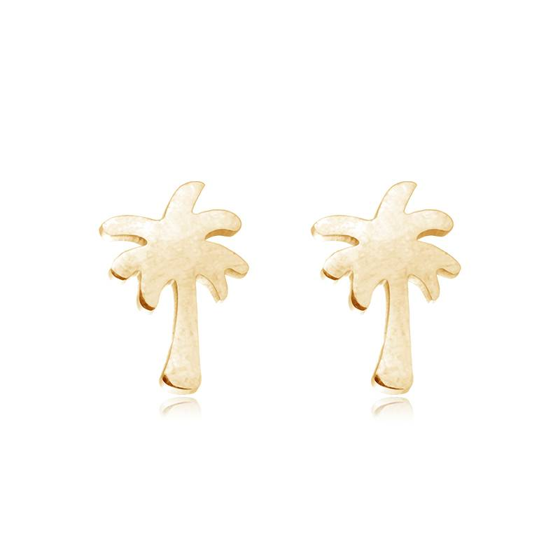 Lovelymusthaves Palm boom hippe oorknopjes zilver/goud