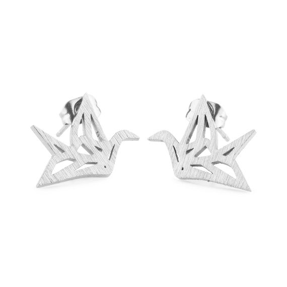 Lovelymusthaves Origami crane bird subtle earrings