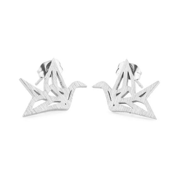Lovelymusthaves Origami kraanvogel dier subtiele oorknopjes zilver/goud/rose