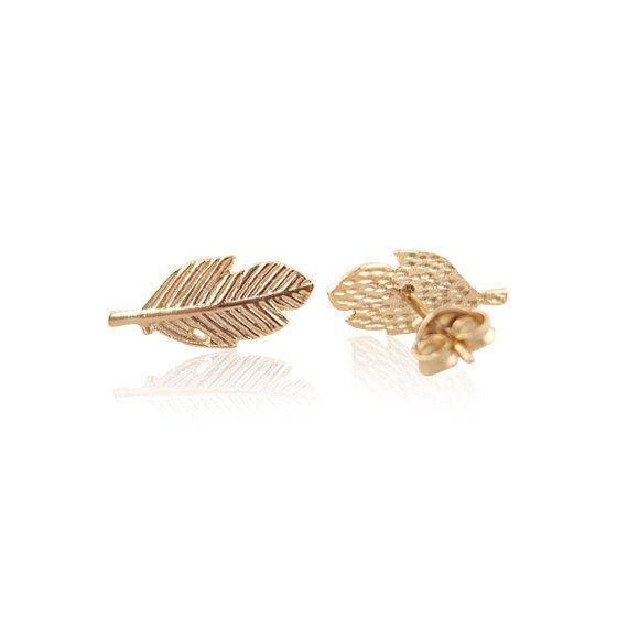 Lovelymusthaves Leaf plant feather earstuds silver/gold/rosé