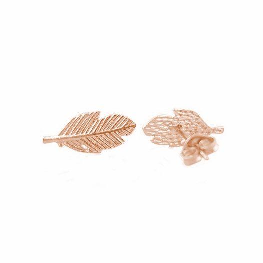 Lovelymusthaves Leaf bol blad plant trendy veer oorknopjes zilver/goud/rose