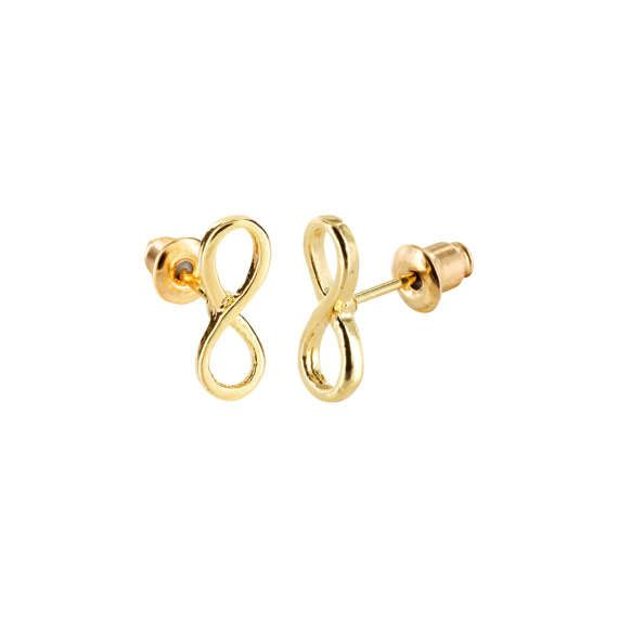 Lovelymusthaves Infinity earstuds silver/gold/rosé