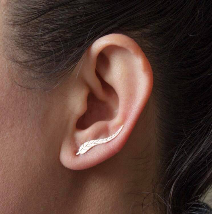Joboly Trendy Ohrringe mit Blattfederblatt entlang Ihrer Ohrlinie