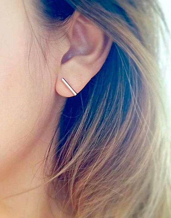 Joboly Bar T minimalistic round bar earrings