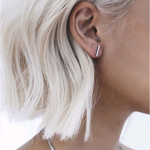Lovelymusthaves Bar T minimalist flat earstuds silver/gold/black 12mm