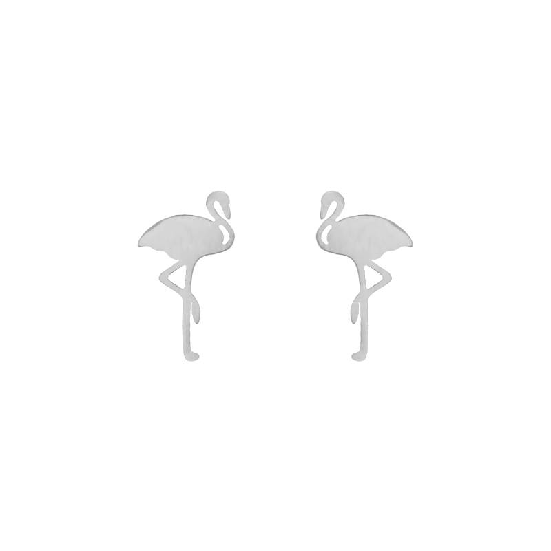Lovelymusthaves Flamingo hippe oorknopjes zilver/goud