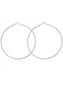 Lovelymusthaves Grote ronde ringen oorbellen maat 4cm zilver/goud