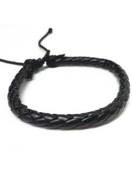 Lovelymusthaves Trendy enkele echte stoere mannen / heren armband verstelbaar zwart
