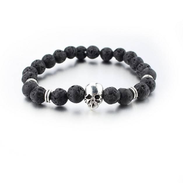 Lovelymusthaves Tough skull men / men bracelet brown / black silver