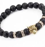 Lovelymusthaves Lovelymusthaves - Cool lion panter lava black bracelet for men silver/gold