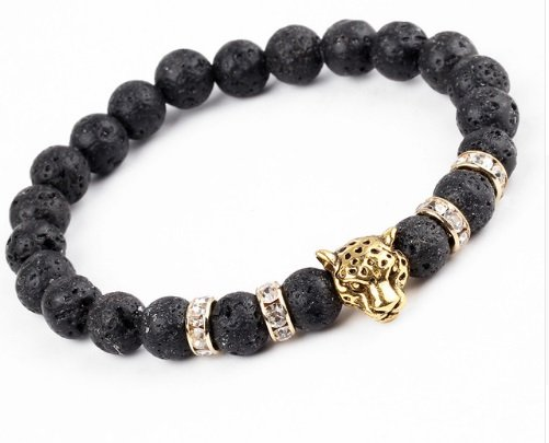 Joboly Tough lion panther animal lava charm bracelet for men / men