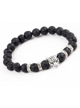 Joboly Lovelymusthaves - Cool lion panter lava black bracelet for men silver/gold