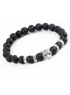 Lovelymusthaves - Cool lion panter lava black bracelet for men silver/gold