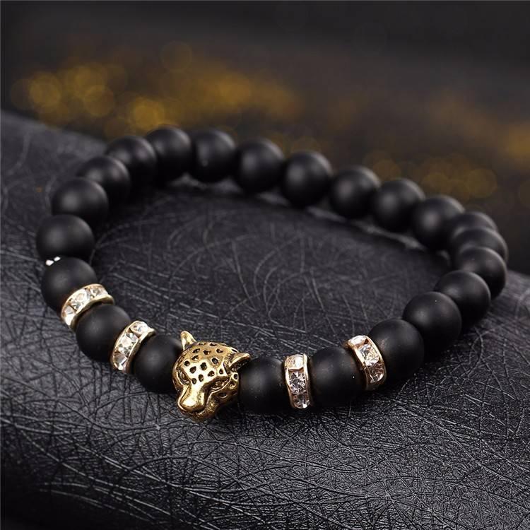 Lovelymusthaves Lovelymusthaves - Cool lion panteranimal brown/black bracelet for men silver/gold