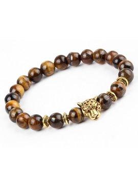 Lovelymusthaves Stoere leeuw panter dier bedel armband voor mannen / heren bruin/zwart zilver/goud