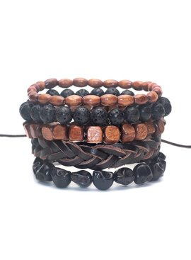 Lovelymusthaves Lovelymusthaves - Cool hip leather men bracelet set brown/black