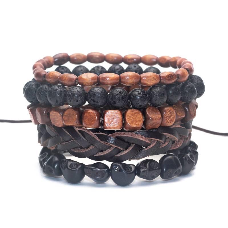 Lovelymusthaves Stoere hippe leren mannen heren armband set bruin/zwart