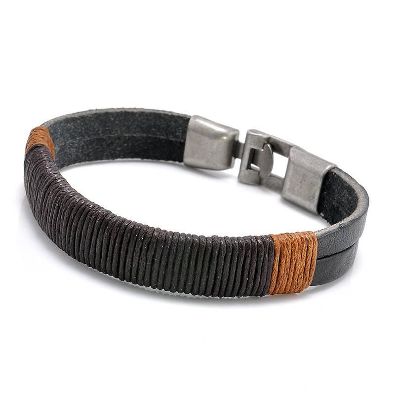 Lovelymusthaves Stoere echt leren mannen / heren armband bruin/zwart met metalen sluiting